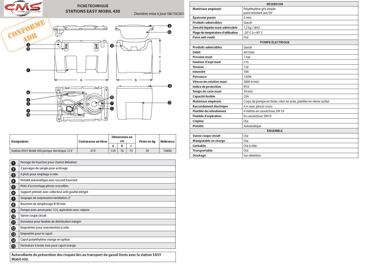 Station mobile de ravitaillement gasoil fuel 430l - Dimensions d une palette europe ...